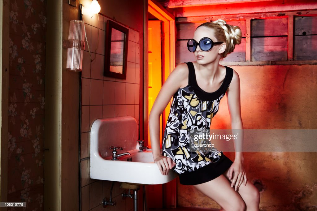 Beautiful Blond Fashion Model in Spring Dress and Sunglasses, Copyspace