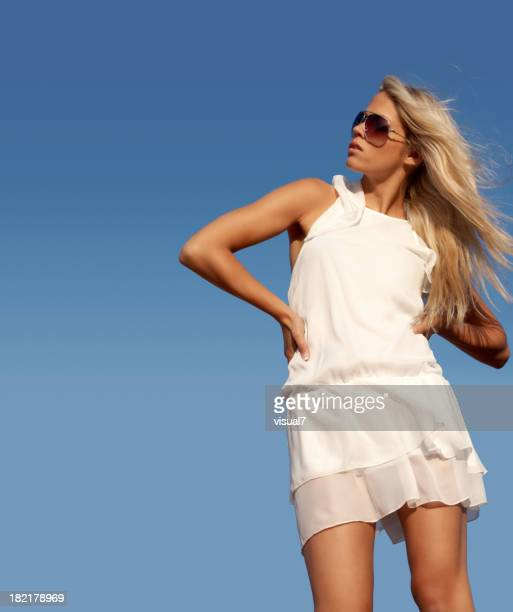 beautiful blond woman, freedom, liberty concept