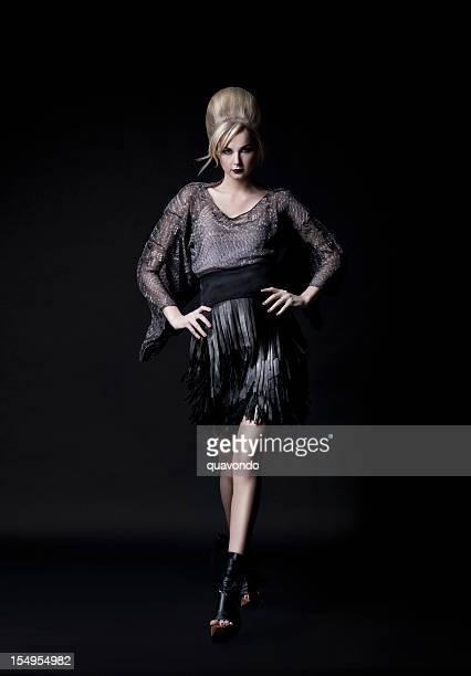 Beautiful Blond Young Woman Fashion Model, Goth Dress, Black Background