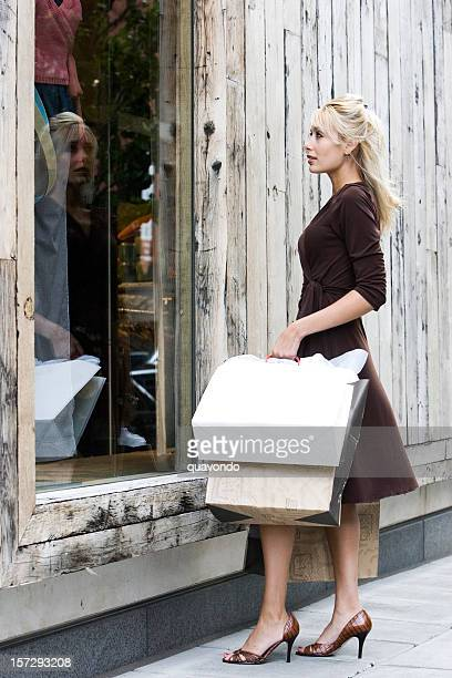Beautiful Blond Young Woman on Shopping Spree, Copy Space