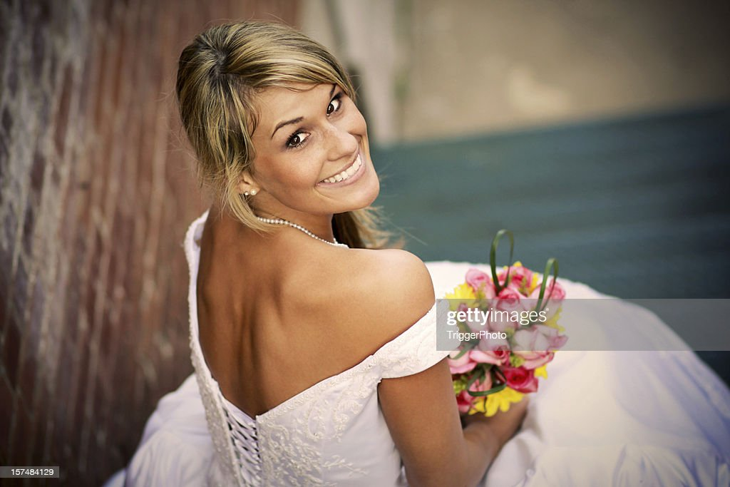 Beautiful Blonde Bride Happy Wedding Dress : Stock Photo