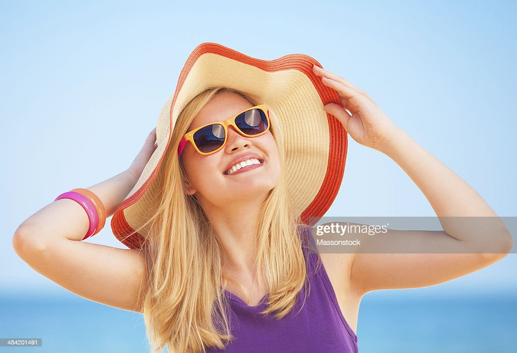 Beautiful blonde girl at the beach. : Stock Photo