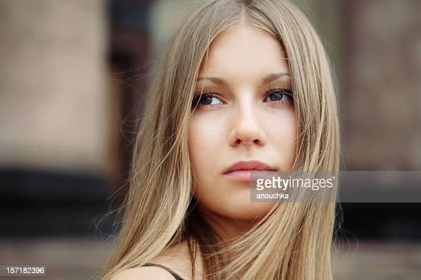 Beautiful blonde girl closeup