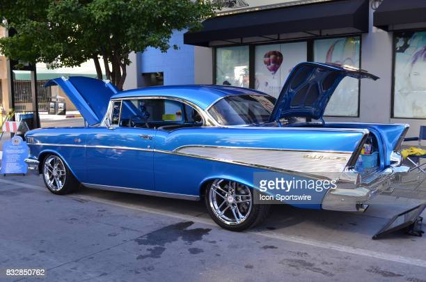 Beautiful blue 1957 Chevy Bel Air gets plenty of attention from fans at the Hot August Nights Custom Car Show the largest nostalgic car show in the...