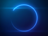 Beautiful Blue Circle Light with Lens Flare on Particles Background - Luxury Background Design Element