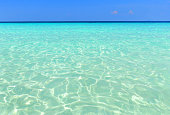 Beautiful blue ocean on sandy beach. Background