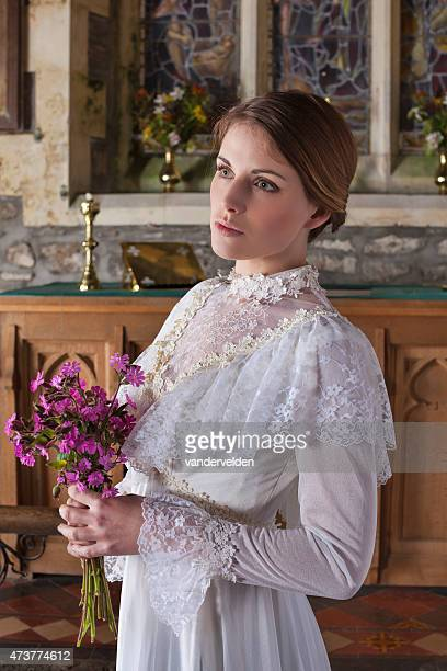 Beautiful Blushing Bride Waiting In Church