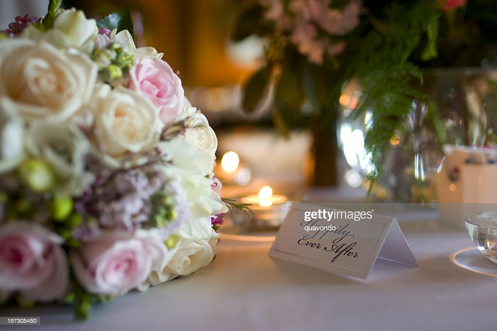 Beautiful Bouquet and Table Setting at Wedding Reception, Copy Space : Stock Photo