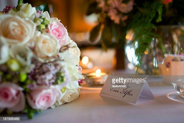 Beautiful Bouquet and Table Setting at Wedding Reception, Copy Space