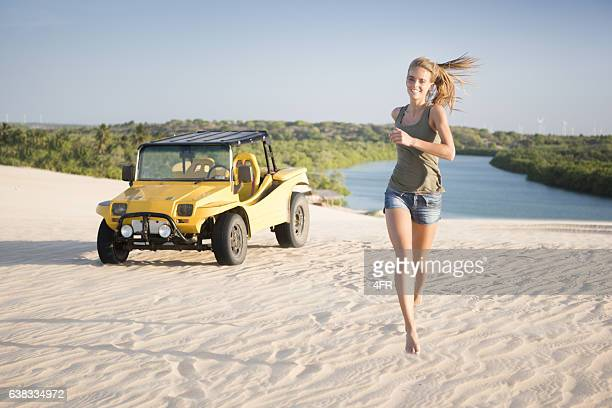 Beautiful Brazil, Female Tourist with Sand Buggy, Dunes, Icarai