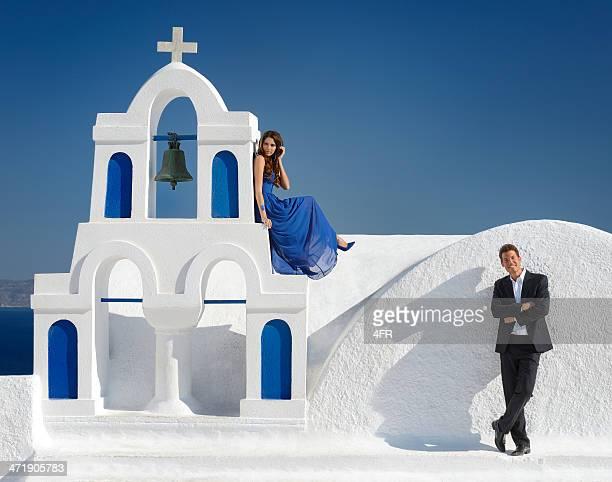 Beautiful Bride and Groom in Santorini, Greece