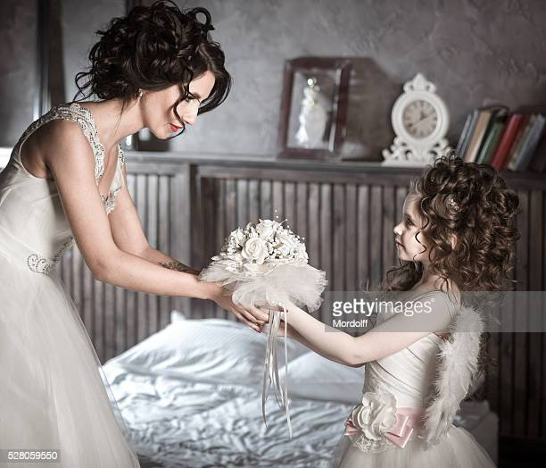 Beautiful Bride and Her Little Sister Going to Wedding