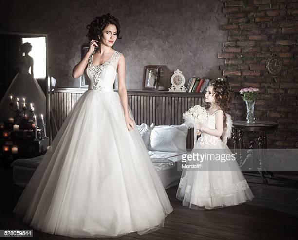 Beautiful Bride and Wedding Angel Helper