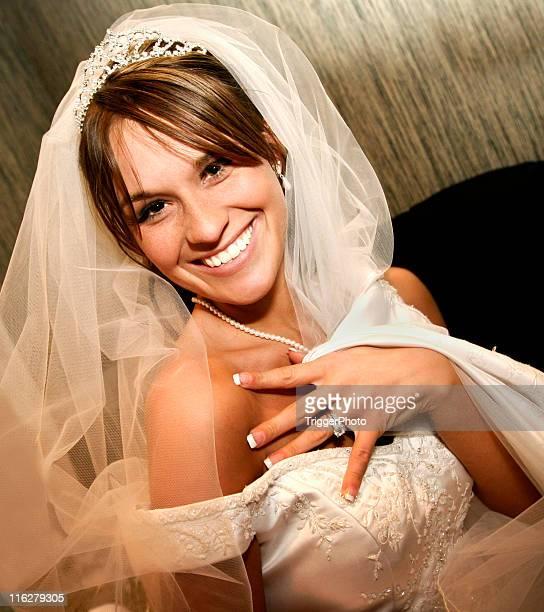 Beautiful Bride Happy Girl Wedding Ring Veil