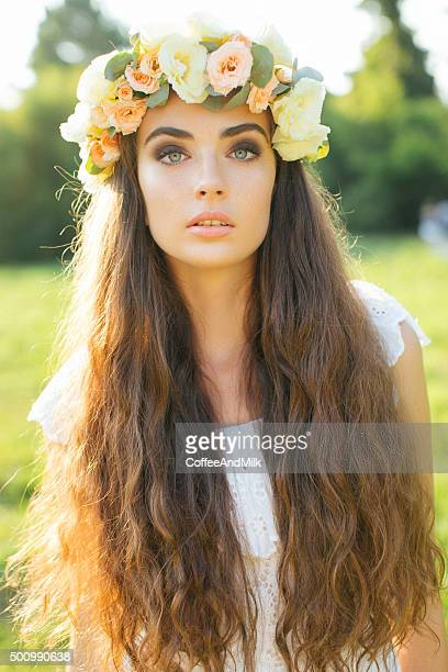 Beautiful bride on a background of summer forest