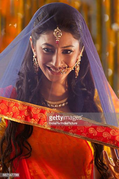 A beautiful bride smiling