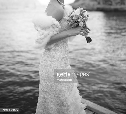 Beautiful bride wearing gorgeous dress. : Stock Photo