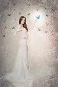 Beautiful bride with butterflies