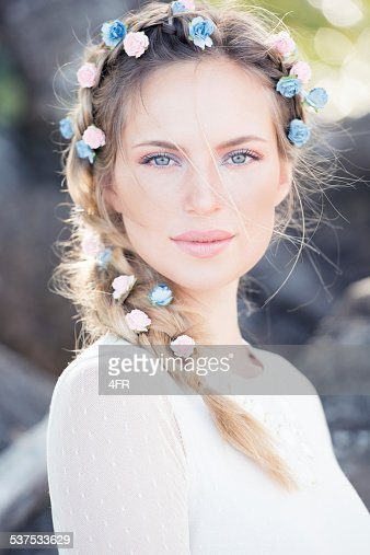 Beautiful Bride with Flowers in her Hair
