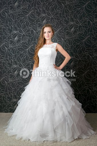 d1fb874d4 Beautiful Bride Young Woman In White Wedding Dress Stock Photo ...