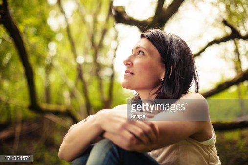 Beautiful brunette in nature