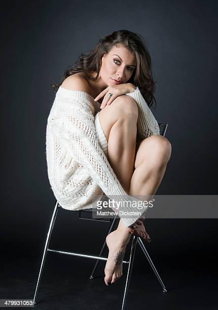 beautiful brunette in white sweater