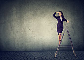 Beautiful business woman on a ladder looking far away