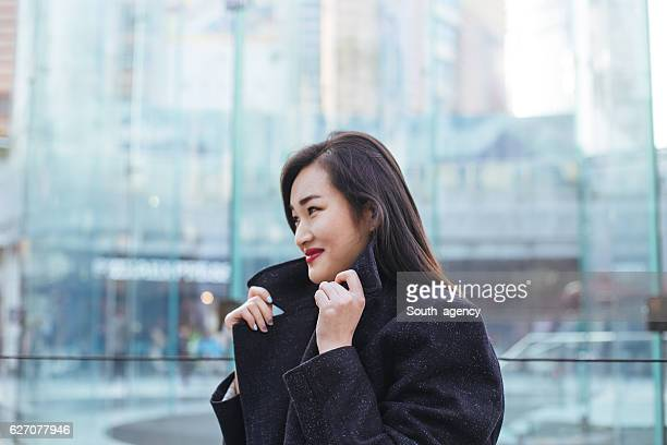 Beautiful businesswoman in winter