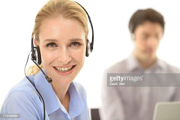 Beautiful call center emplyee