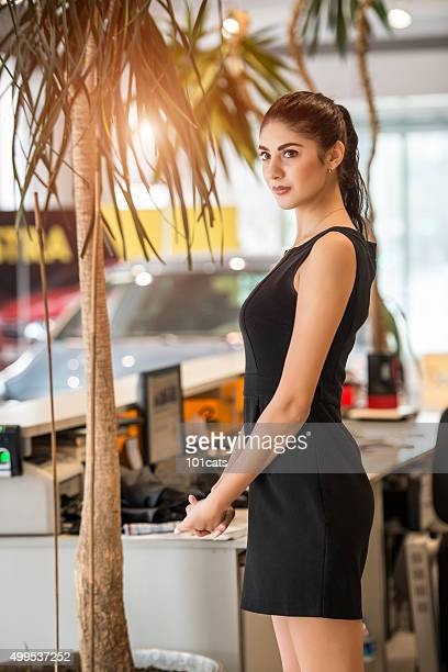 beautiful car saleswoman
