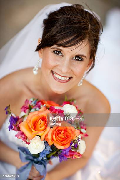 Beautiful Caucasian Bride in Wedding Dress Portrait