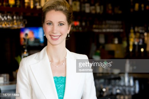 Beautiful Caucasian Woman as Small Business Owner in Restaurant Bar