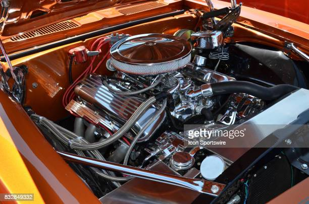 Beautiful chromed big block V8 engine in a 1967 Chevy Camero on display at the Hot August Nights Custom Car Show the largest nostalgic car show in...