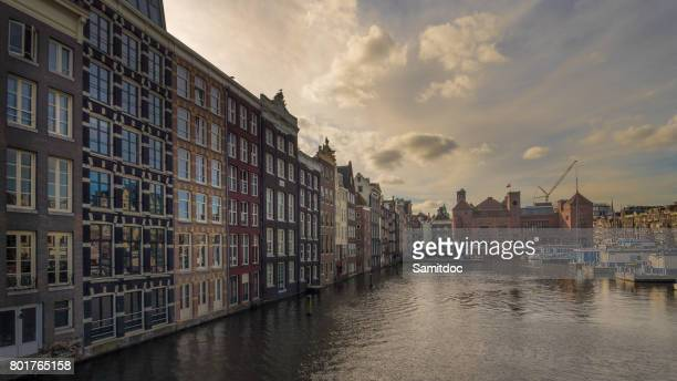 Beautiful cityscape in Amsterdam, Netherlands. Wonderful view on house