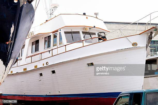 Beautiful, Clasic Yacht in Dry Dock for Repair