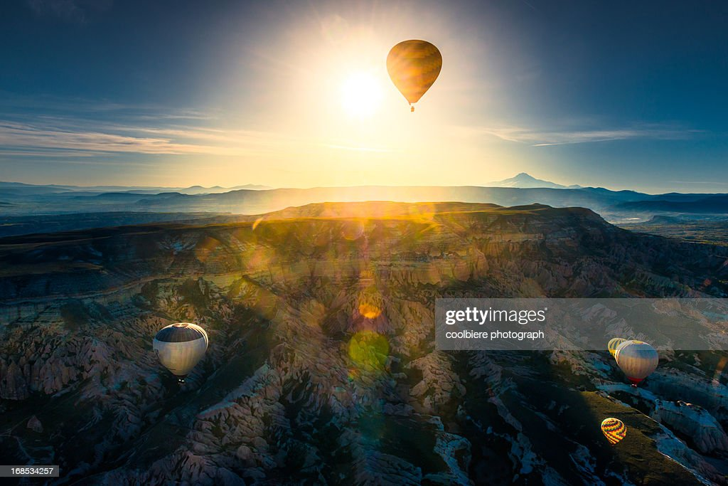 beautiful cliff landscape with morning balloons