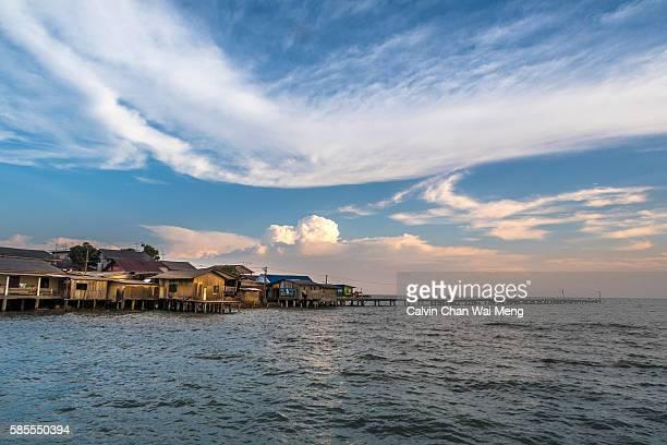 Beautiful cloudscape during sunset at seaside in Jalan Minyak Beku - Batu Pahat, Johor - Malaysia