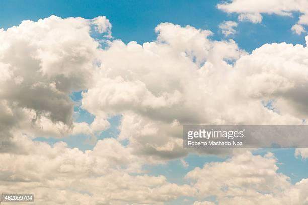 Beautiful cloudscape in a tropical country cumulus nimbus and intense blue sky in Cuba