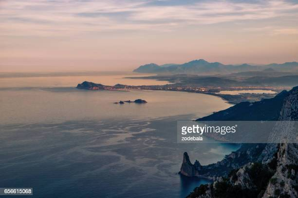 Beautiful Coastline and Sea in Sardinia at Sunset