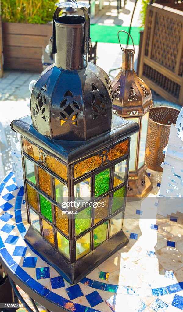 beautiful colorful lamps arabic style of decorating : Stock Photo