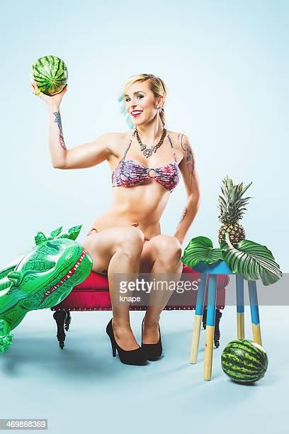 Beautiful colorful portrait of woman in bikini