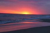 Sunset at the beach in Costa de Oro, Uruguay