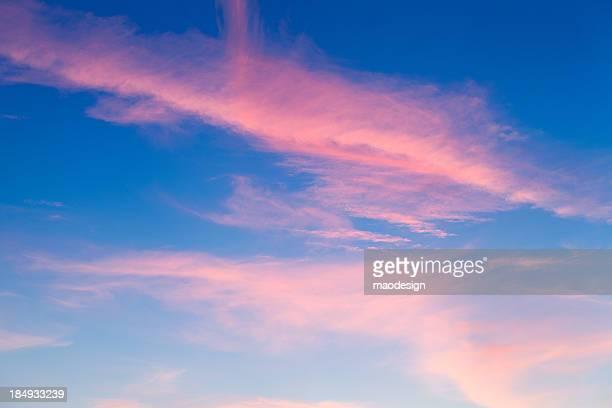 美しい色鮮やかな夕日