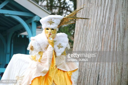 Beautiful costumed woman posing at Annecy french venetian carnival outdoor : Stock Photo