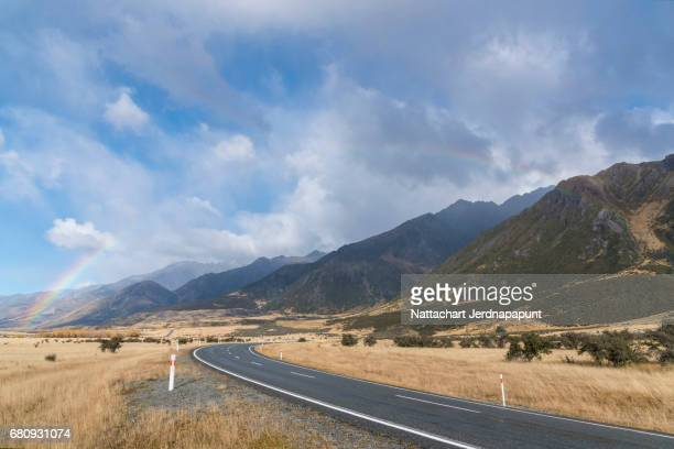 Beautiful country road way to mountain cook national park where is the impressive scenic view