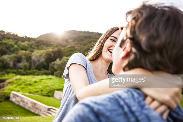 Beautiful couple embracing and enjoying life