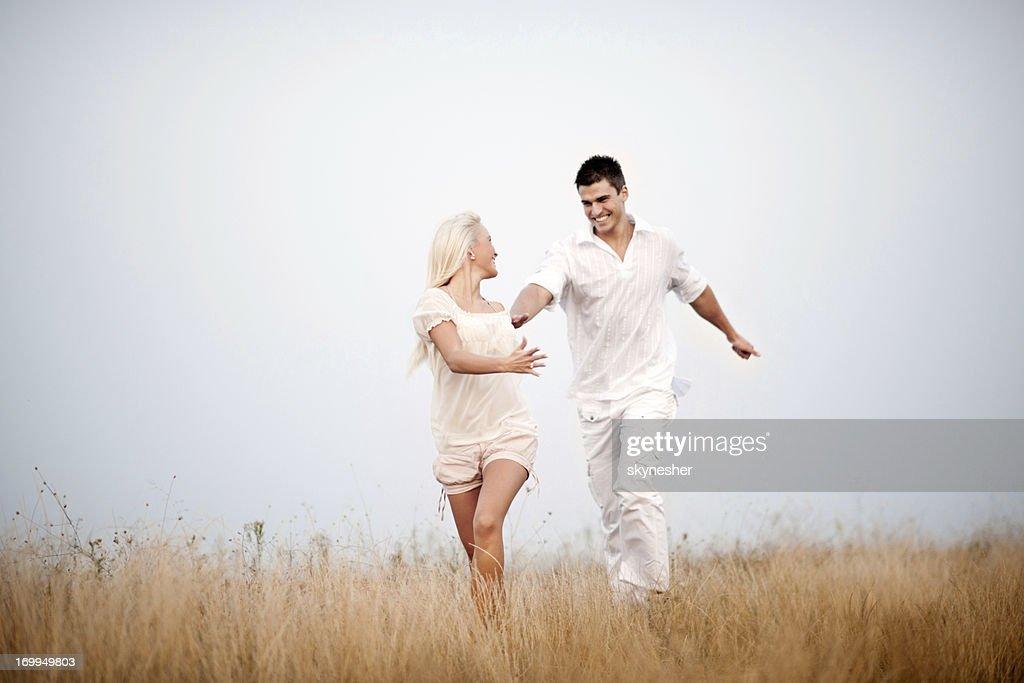 Beautiful couple enjoying in the nature.