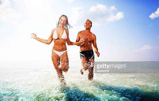 Beautiful couple having fun at the beach.