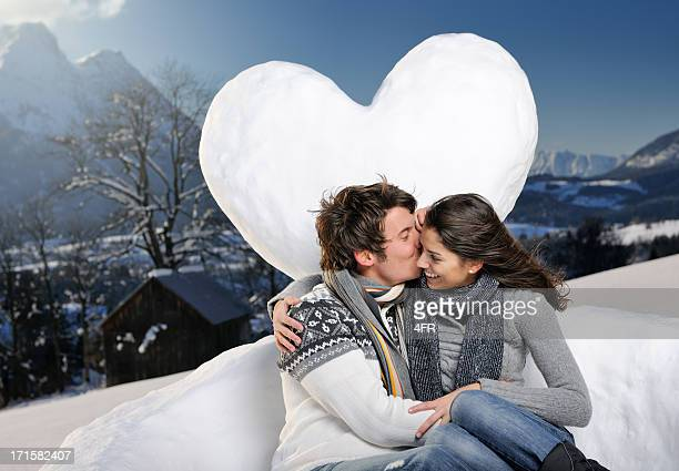 Beautiful Couple Kissing, Winter Snow Heart Sofa