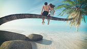 Beautiful couple sitting on a palm beach. This is a 3d render illustration